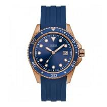 Mėlynos ir aukso spalvos GUESS laikrodis vyrui su dirželiu iš silikono