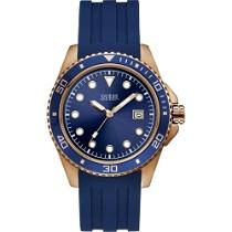 """Mėlynos ir aukso spalvos """"GUESS"""" laikrodis vyrui su dirželiu iš silikono"""