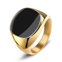 Vyriškas nerūdijančio plieno aukso spalvos žiedas su juodos spalvos akmeniu