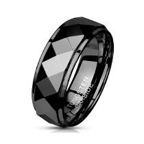 Juodos spalvos stilingas žiedas vyrams iš volframo